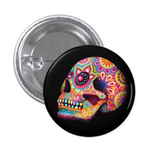 Botón del Pin del cráneo del azúcar - día del arte