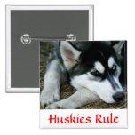 Botón del Pin del husky siberiano de la regla de l