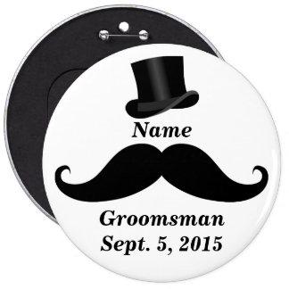 Botón del Pin-Detrás del bigote y del sombrero de