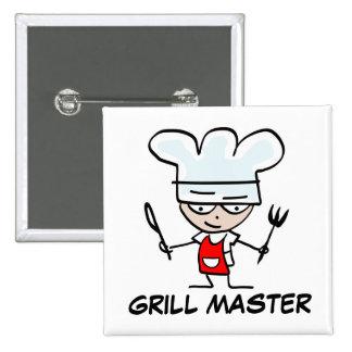 Botón del pinback de Grill Master Pin Cuadrado