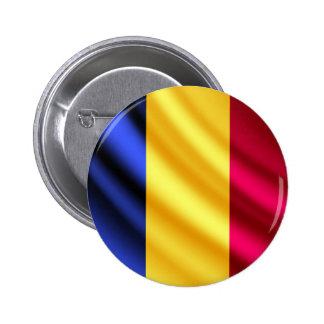 Botón del pinback de la bandera de Rumania que Pin Redondo De 2 Pulgadas
