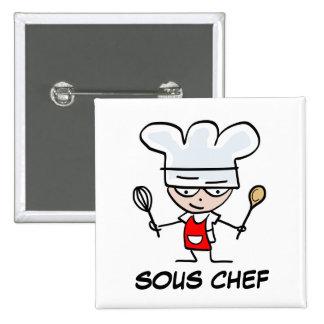 Botón del pinback del cocinero de Sous Pin Cuadrado