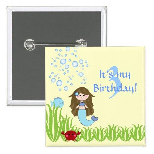 Botón del pinback del cumpleaños del chica lindo d pins