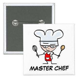 Botón del pinback del maestro cocinero pin cuadrado
