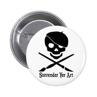 Botón del pirata del artista pin redondo de 2 pulgadas