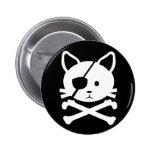 Botón del pirata del gato pin