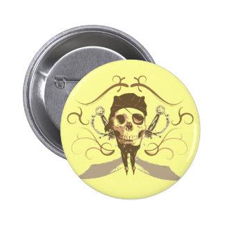 Botón del pirata del vintage pin redondo de 2 pulgadas