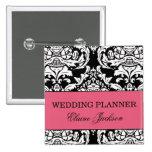 Botón del planificador del boda pin cuadrado