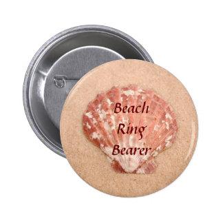 Botón del portador del anillo de bodas de playa pin redondo de 2 pulgadas