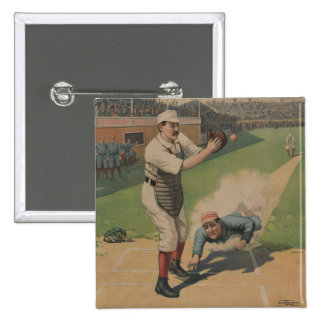 Botón del poster del béisbol del vintage