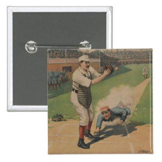 Botón del poster del béisbol del vintage pin cuadrado
