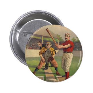 Botón del poster del béisbol del vintage pin redondo de 2 pulgadas