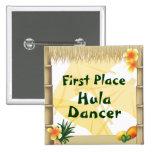 Botón del premio del bailarín de Hula del lugar Pin Cuadrado