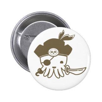 Botón del pulpo del pirata del dibujo animado pins