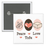 Botón del queso de soja del amor de la paz pins