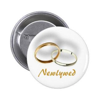 Botón del recién casado pin redondo de 2 pulgadas