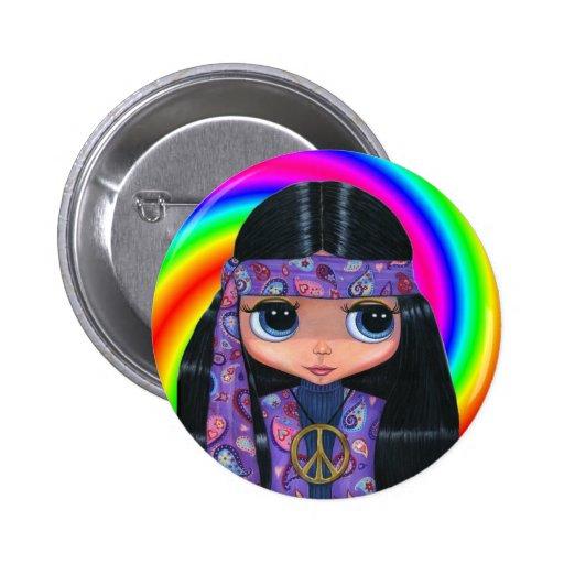 Botón del remolino de la muñeca del Hippie de Pais Pin