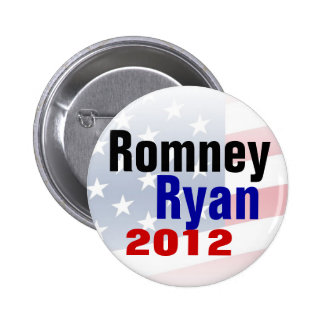 Botón del republicano de Romney Ryan 2012 Pin Redondo De 2 Pulgadas