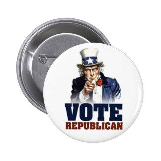 Botón del republicano del voto del tío Sam Pin Redondo De 2 Pulgadas