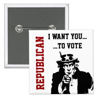 Botón del republicano del voto pin cuadrado