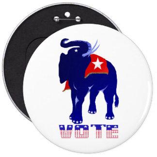 Botón del republicano del voto pin redondo de 6 pulgadas