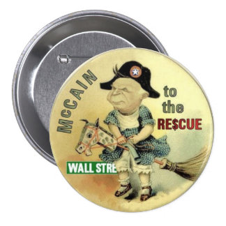 Botón del rescate de McCain Wall Street Pin Redondo De 3 Pulgadas
