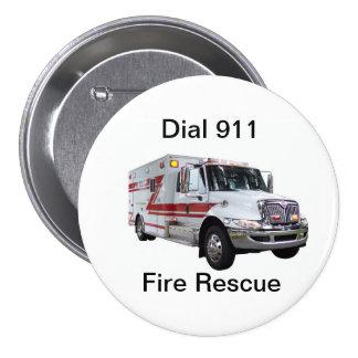 Botón del rescate del fuego pin redondo de 3 pulgadas