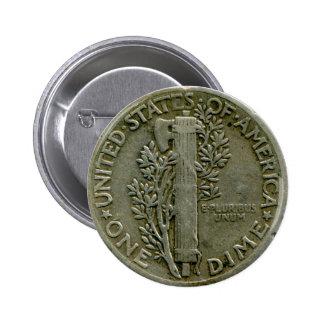 Botón del revés de la moneda de diez centavos de l pin