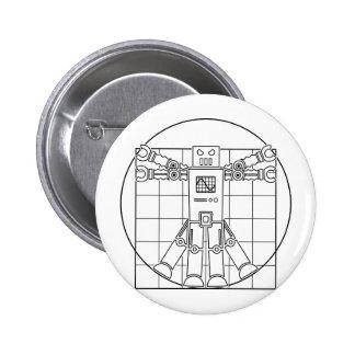 Botón del robot de da Vinci Vitruvian Pin Redondo De 2 Pulgadas