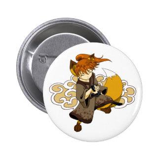 Botón del samurai de Kitsune Pin Redondo De 2 Pulgadas
