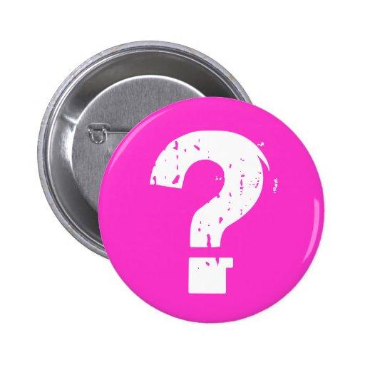 Botón del signo de interrogación en rosa pin