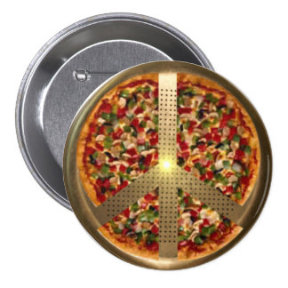 Botón del signo de la paz de la pizza pin redondo de 3 pulgadas