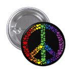Botón del signo de la paz de los corazones del arc pin