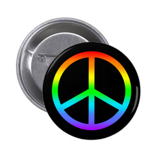 Botón del signo de la paz del arco iris pins
