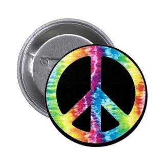 Botón del signo de la paz del teñido anudado pin redondo de 2 pulgadas