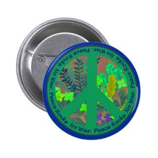 Botón del signo de la paz en verde y azul pin redondo de 2 pulgadas