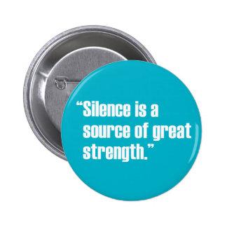 Botón del silencio y de la fuerza pin redondo de 2 pulgadas