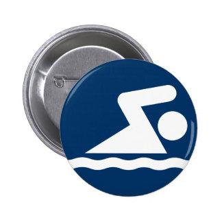 Botón del símbolo de la nadada pin redondo de 2 pulgadas
