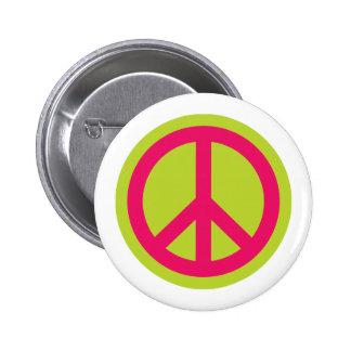 Botón del símbolo de paz 01 pin redondo de 2 pulgadas