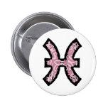 Botón del símbolo de Piscis (estilo 1_pink) Pins