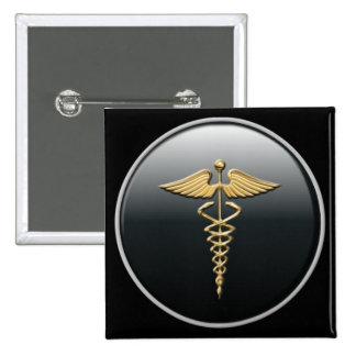 Botón del símbolo del médico pin cuadrado
