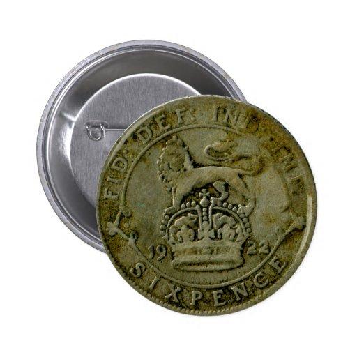 Botón del sixpence de 1922 Británicos Pins