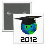 Botón del smiley de la graduación pin