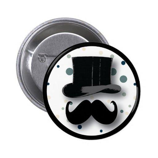 Botón del sombrero de copa y del bigote con los lu pin redondo de 2 pulgadas