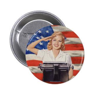 Botón del taquígrafo WW2 Pin Redondo De 2 Pulgadas
