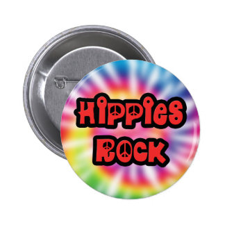 Botón del teñido anudado de la roca de los hippies pin