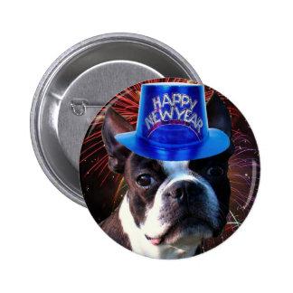 Botón del terrier de Boston de la Feliz Año Nuevo Pins
