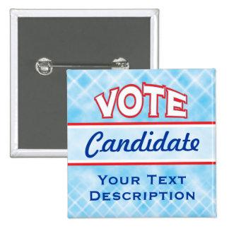 Botón del texto del personalizar del VOTO Pin