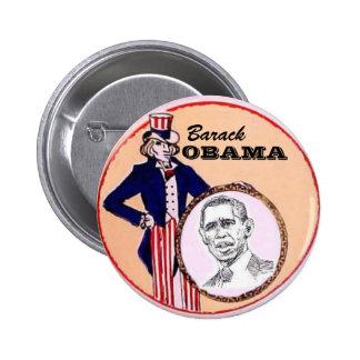 Botón del tío Sam de Obama Pin Redondo De 2 Pulgadas