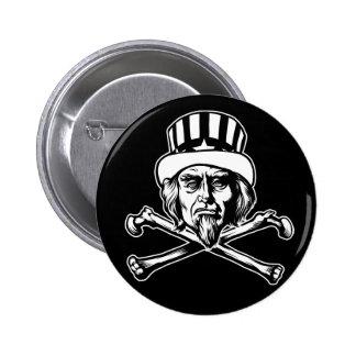 Botón del tío Sam y de la bandera pirata Pin Redondo De 2 Pulgadas